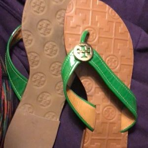 Sz 5 Green Leather Tory Burch sandals
